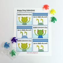 Load image into Gallery viewer, Valentine's Day Card Kit for Kids: FROG Cards + Favors (set of 6)
