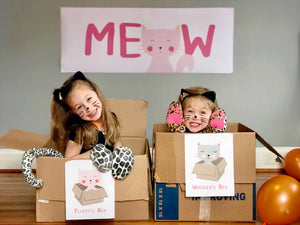 Children acting as cats by sitting in box cat beds at a Cool Cats birthday party.