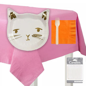 Cat Party Tableware + Cake Topper Bundle