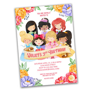 Princess fairytale digital party invitation