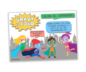 Superhero birthday party digital invitation