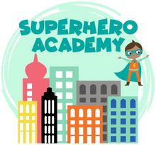 Load image into Gallery viewer, City and superhero graphics with Superhero Academy text