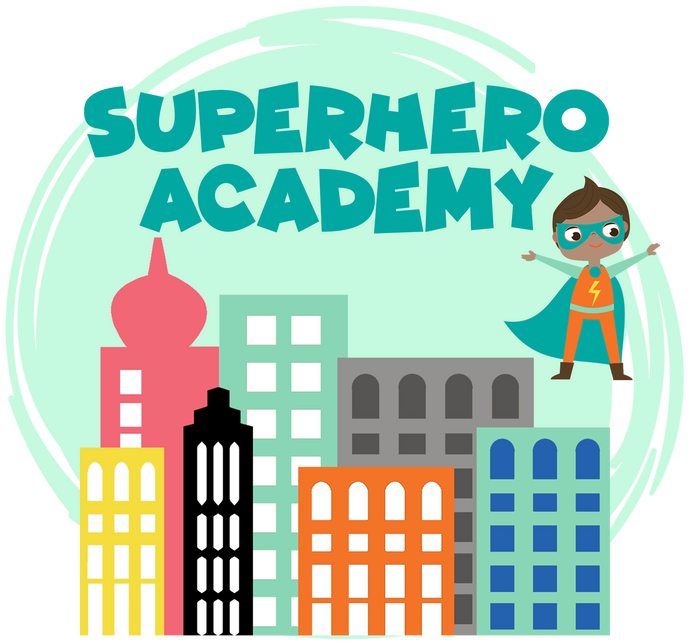 City and superhero graphics with Superhero Academy text