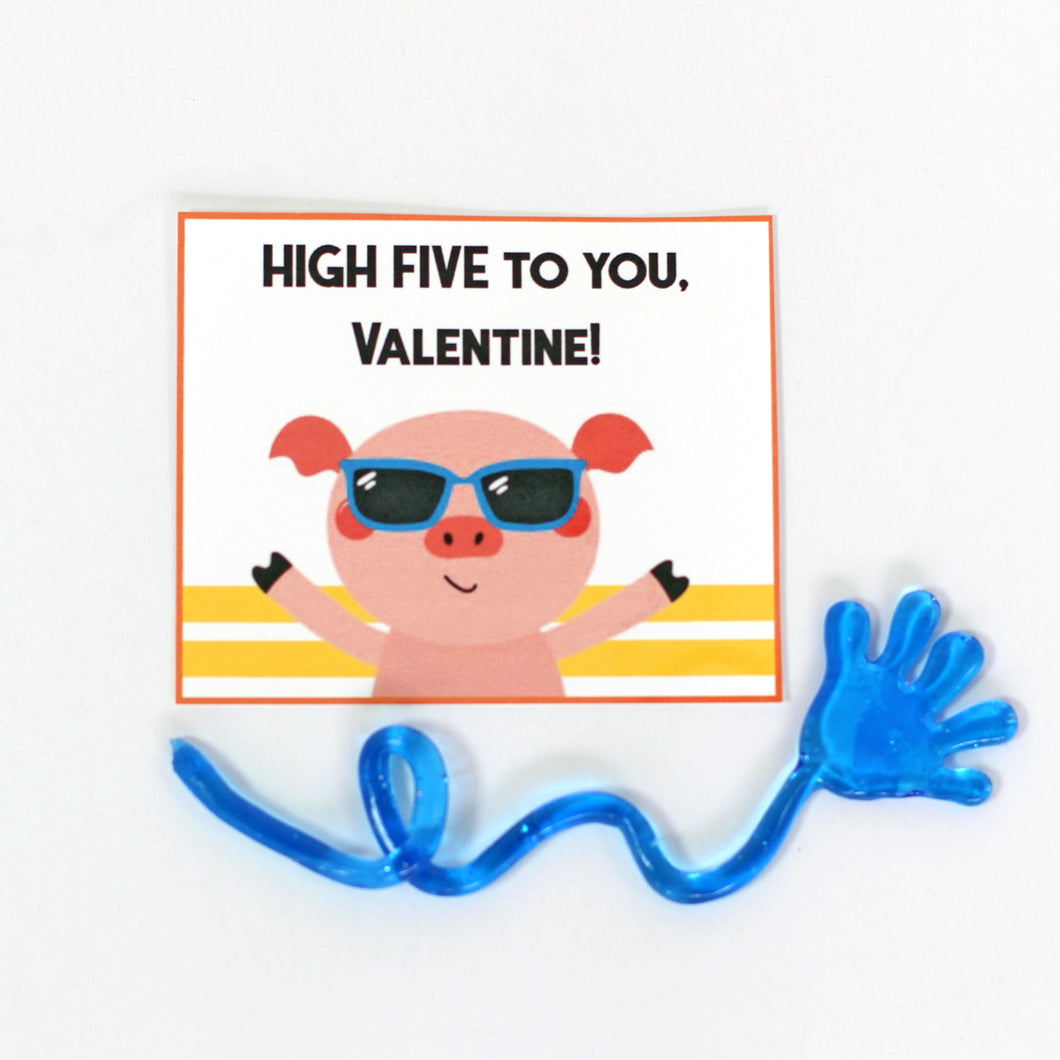 Valentine's Day Card Kit for Kids: HIGH FIVE Cards + Favors (set of 6)