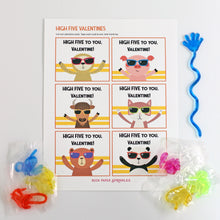 Load image into Gallery viewer, Valentine's Day Card Kit for Kids: HIGH FIVE Cards + Favors (set of 6)