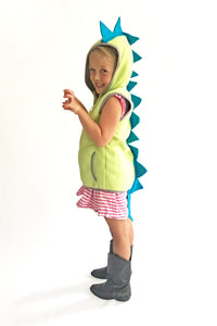 Green dinosaur vest with blue spikes