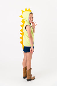 Green dinosaur vest with yellow spikes