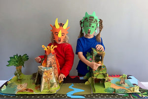 A Papo volcano playset and Papo jungle playset with dinosaur toys