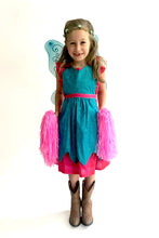 Load image into Gallery viewer, Child wearing a blue fairy costume with wings