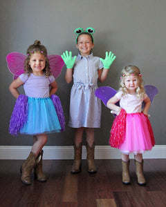 Tutu and fairy wings and pom-poms