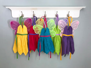 Fairy costumes in yellow, pink, blue, green and purple