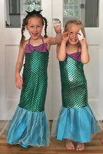 Load image into Gallery viewer, Children dressed in mermaid costumes with shark puppets