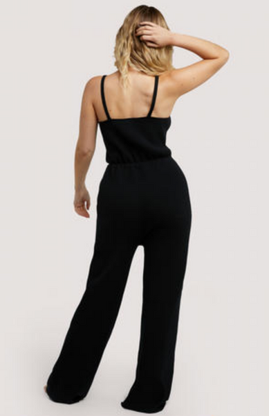 New Wolf & Whistle Lounge Black Knitted Jumpsuit