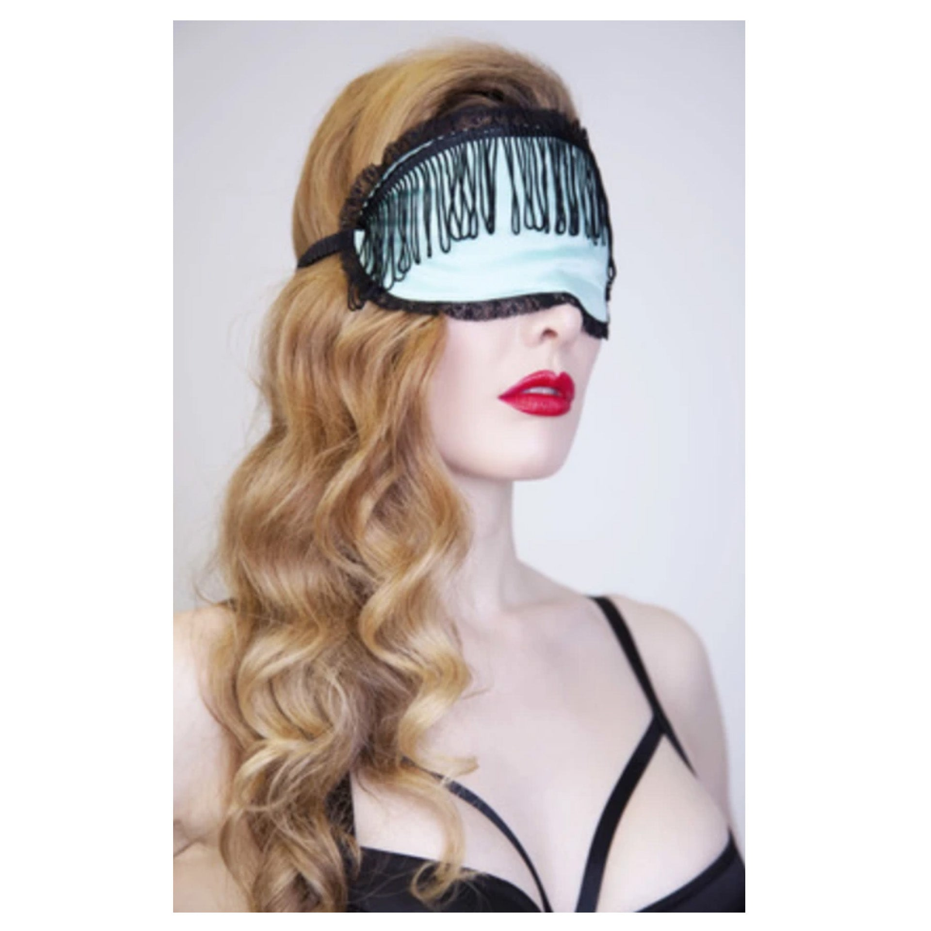 New Mint Eye Mask with Black Tassles