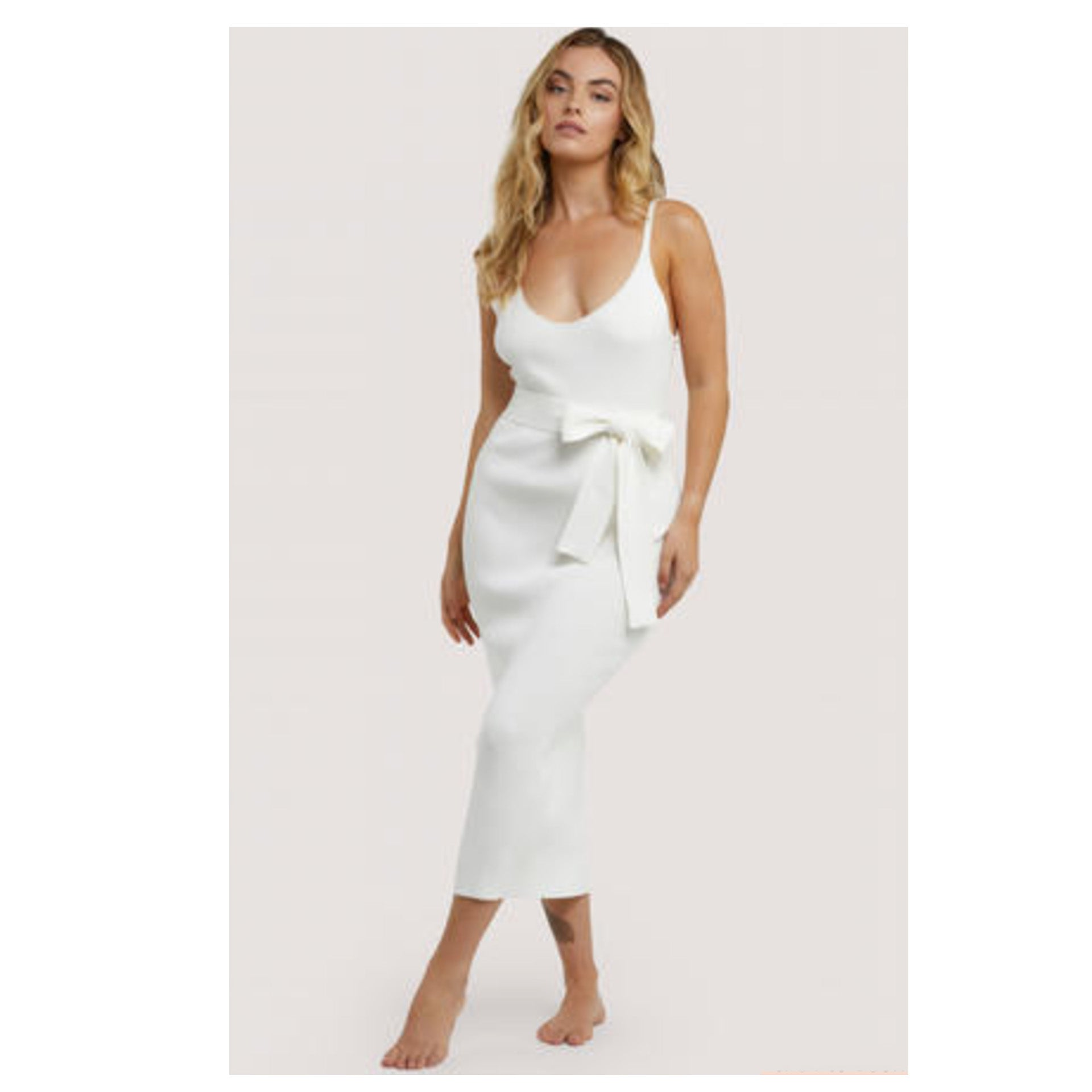 New Wolf & Whistle Lounge Ivory Knitted Rib Dress