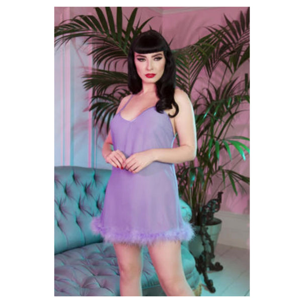 New Bettie Page Feather Babydoll Lilac