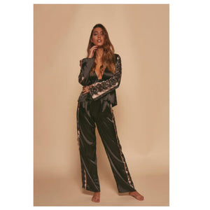 Last Ones! New Wolf & Whistle Morgan Satin & Lace Tie Front PJ Set
