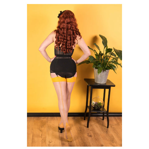 Mustard Glamour Seamed Stockings by What Katie Did
