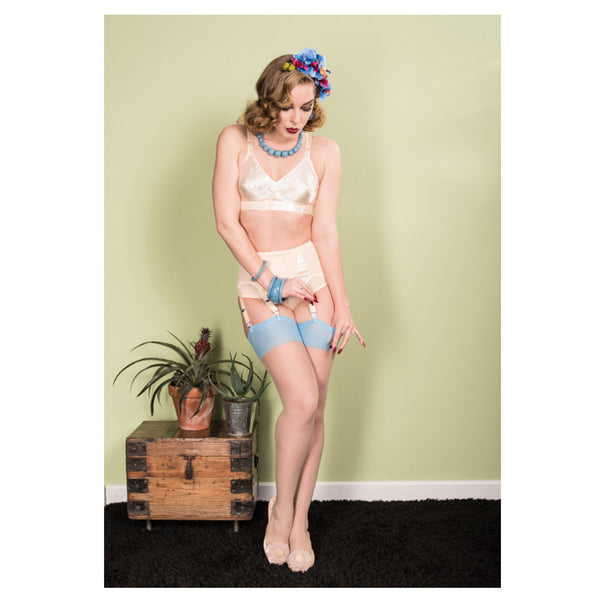 Sky Glamour Seamed Stockings by What Katie Did