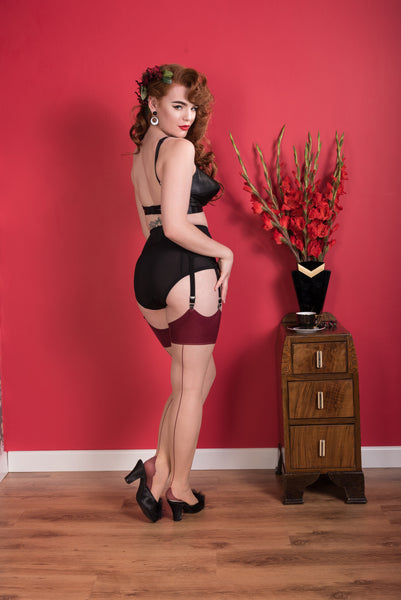 Claret Glamour Seamed Stockings by What Katie Did