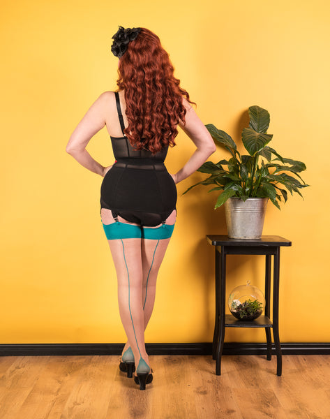 Teal Glamour Seamed Stockings by What Katie Did