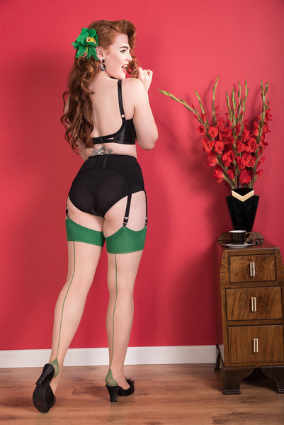 Green Glamour Seamed Stockings by What Katie Did