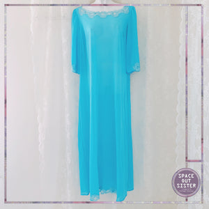 Vintage Turquoise Full Length Nightdress