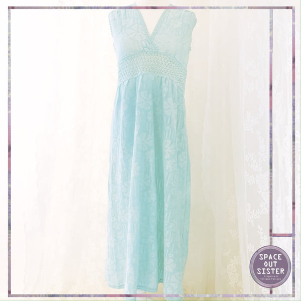 Vintage Turquoise Hanro Cotton Nightdress