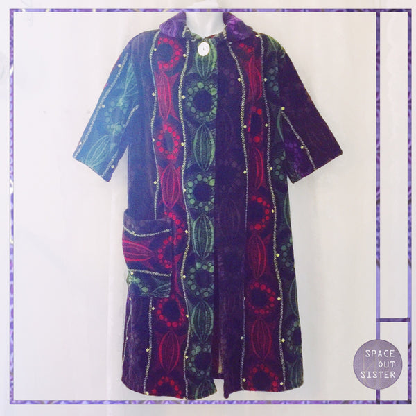 1980s Vintage Ruby Stripes Cotton Robe