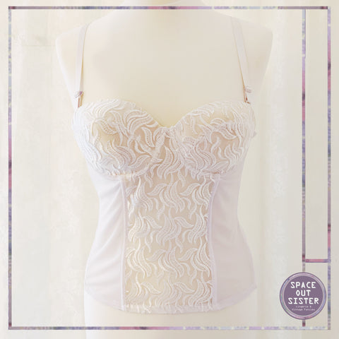White Embroidered Lace Basque
