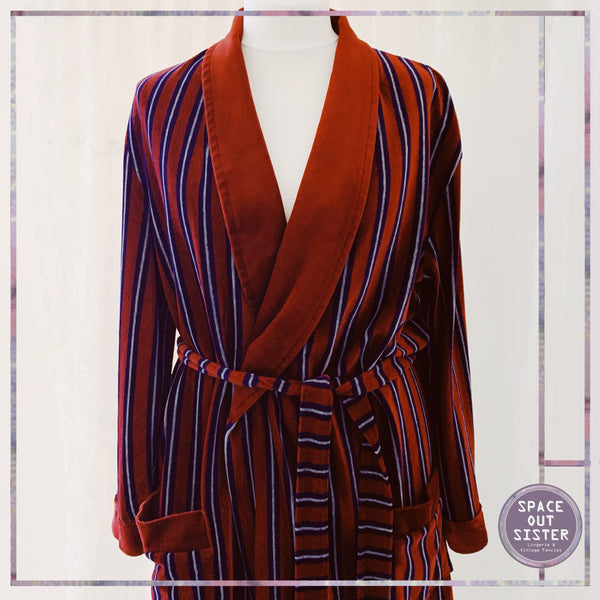 Velour Striped Dressing Gown
