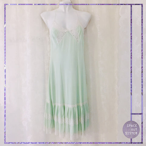 Vintage Polka Dot Mint Green Slip