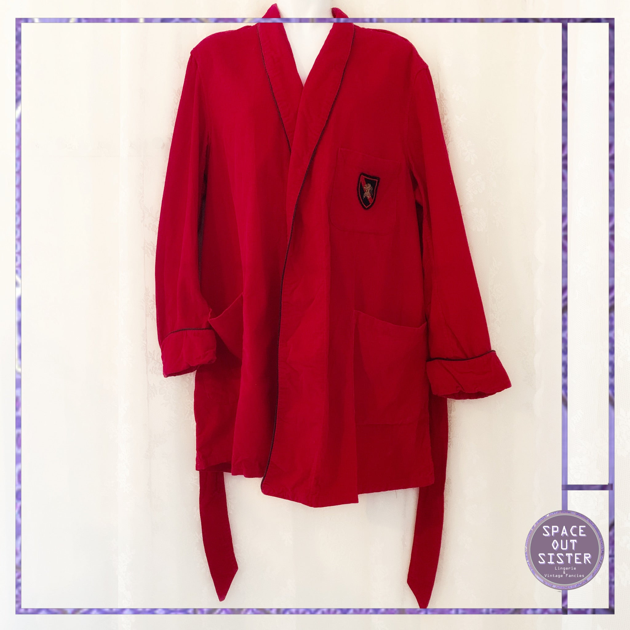 1980s Vintage Red Corduroy Sears Robe