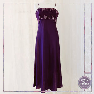 Long Purple Darjeeling Slip Dress