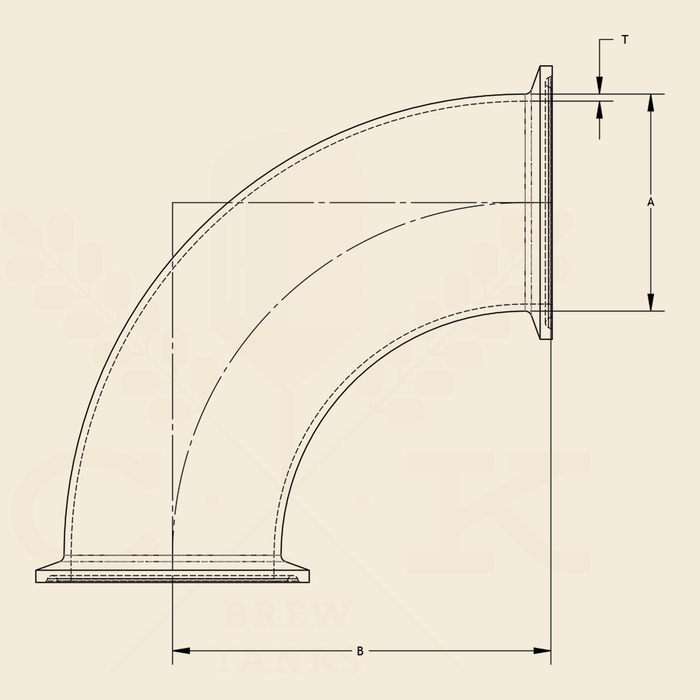 6.0 in. | 90 Degree Clamp Elbow | 3A 304