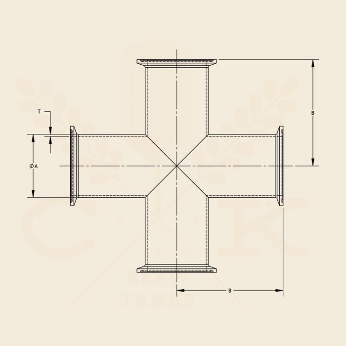 1.5 in. | Clamp Equal Cross | 3A 304