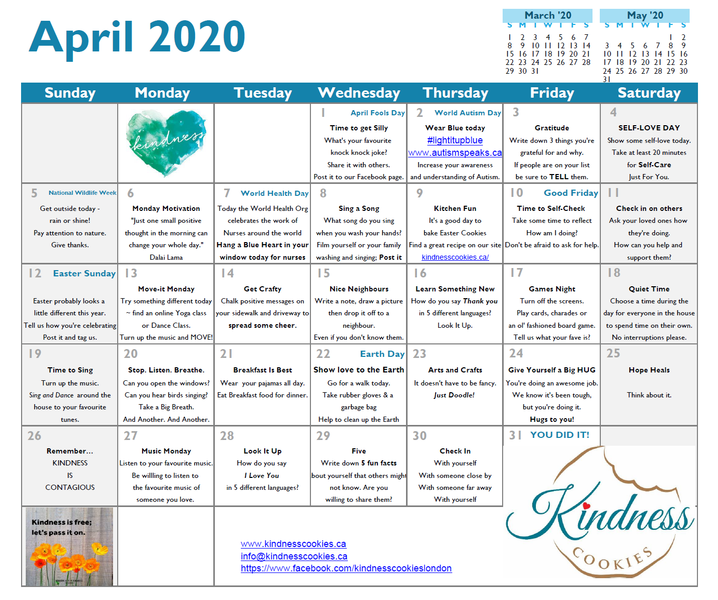 Kindness Cookies Calendar - April 2020