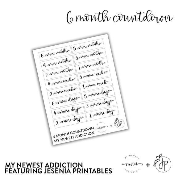 6 Month Countdown | lettering by Jesenia Printables