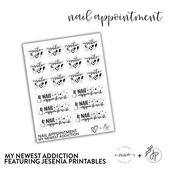 Nail Appointment | lettering by Jesenia Printables