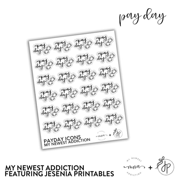 Pay Day Icons | Lettering by Jesenia Printables