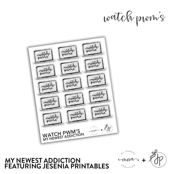 Watch PWMs | lettering by Jesenia Printables