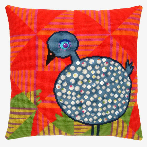 Fru Zippe Woollen Cross Stitch Kit: Guinea Fowl Cushion Cover
