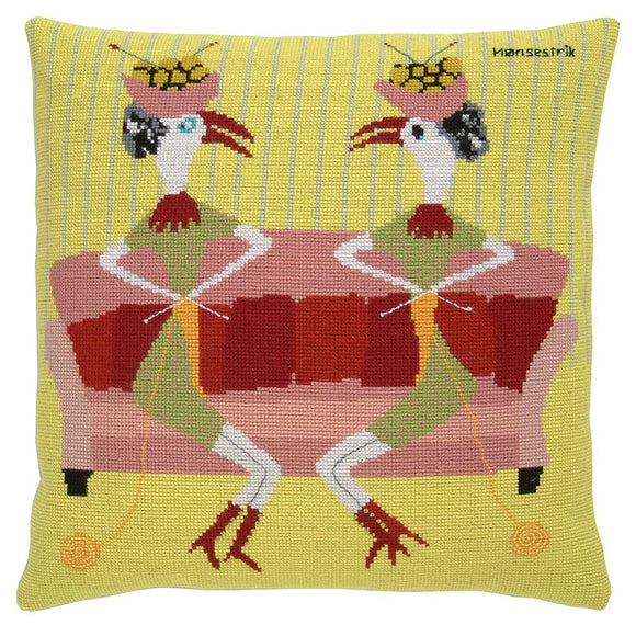 Fru Zippe Woollen Cross Stitch Kit: Knitting Chickens Cushion Cover