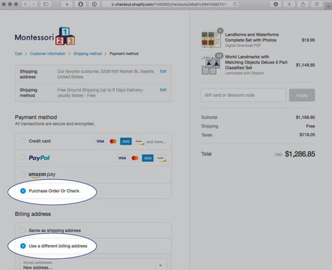 Purchases Order checkout screen