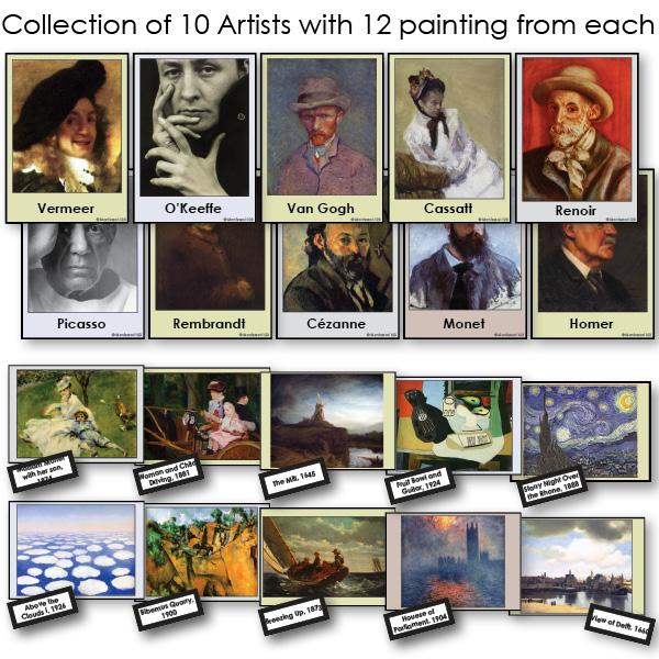 Art-Famous Artists - Collection Of Ten Artists 2-Part Cards Of Paintings With Biographies