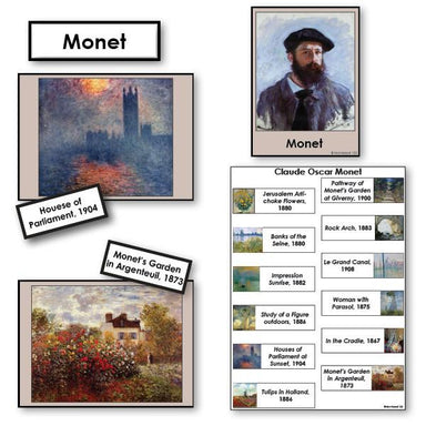 Art-Famous Artists - Monet 2-Part Cards Of Painting With Biography