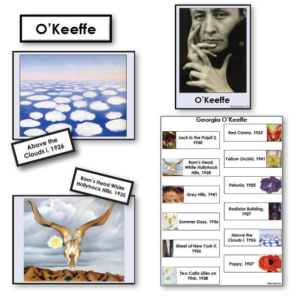 Art-Famous Artists - O'Keeffe 2-Part Cards Of Paintings With Biography