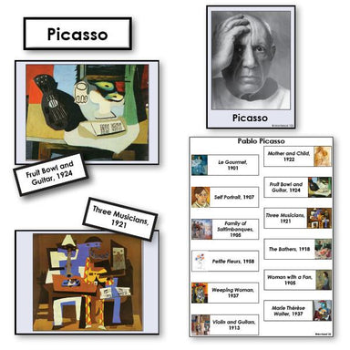 Art-Famous Artists - Picasso 2-Part Cards Of Paintings With Biography