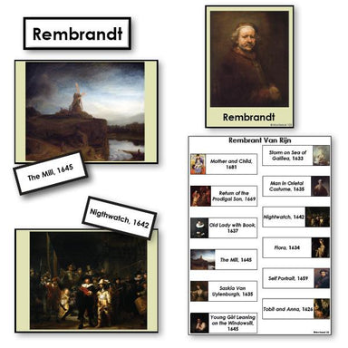 Art-Famous Artists - Rembrandt 2-Part Cards Of Paintings With Biography