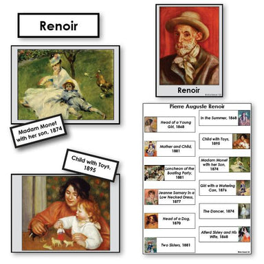 Art-Famous Artists - Renoir 2-Part Cards Of Paintings With Biography
